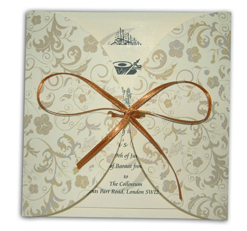 Hindu Wedding Card MCC Cream